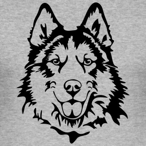 HUSKY PORTRAIT - Männer Slim Fit T-Shirt