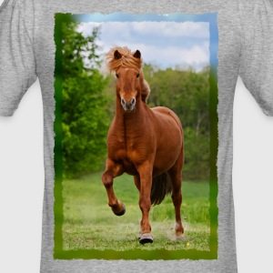Icelandic horse running in tölt over meadow horse photo - Men's Slim Fit T-Shirt