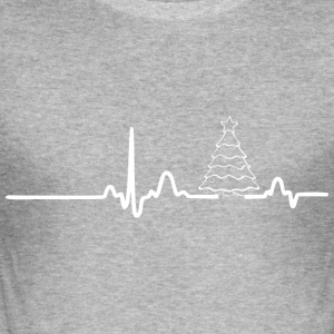 ECG HEART LINE CHRISTMAS white - Men's Slim Fit T-Shirt