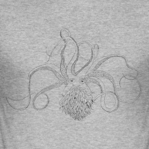 Bearded Octopus svart - Slim Fit T-skjorte for menn
