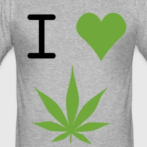 i love weed - Slim Fit T-skjorte for menn