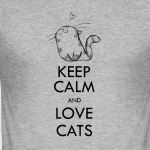 Keep calm and love cats - Men's Slim Fit T-Shirt