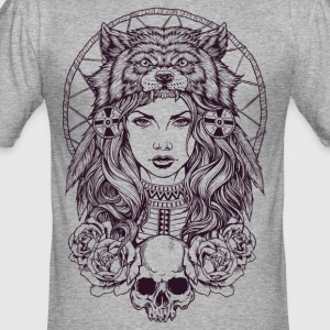 Native American Girl med Wolf huvudbonad - Slim Fit T-shirt herr