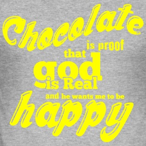 CHOCOLATE IS PROOF yellow - Men's Slim Fit T-Shirt