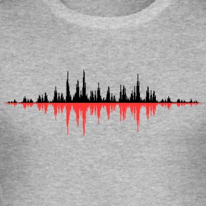 Rouge Onde sonore - Tee shirt près du corps Homme