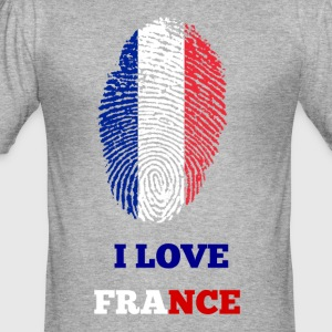 I LOVE FRANCE FINGERABDRUCK - Männer Slim Fit T-Shirt