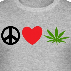 Peace Love Marijuana Cannabis Weed Pot - Männer Slim Fit T-Shirt