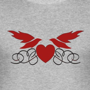 Bird Heart I love you Valentine's Day for couples - Men's Slim Fit T-Shirt