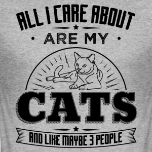 CAT CAT ALL I CARE ABOUT ARE MY CATS B - Men's Slim Fit T-Shirt