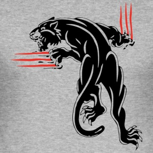 BLACK ANIMAL JUNGLE WILD CAT - Men's Slim Fit T-Shirt