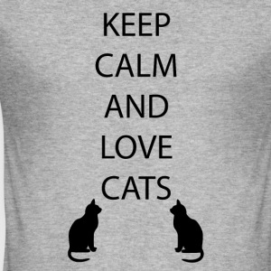Katzen Keep Calm - Männer Slim Fit T-Shirt