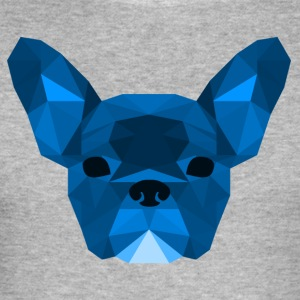 Low Poly Frenchie blue - Men's Slim Fit T-Shirt