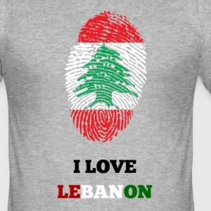 I LOVE LEBANON T-SHIRT FINGERAVTRYKKS - Slim Fit T-skjorte for menn