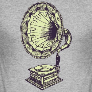 Music vintage gramophone - Men's Slim Fit T-Shirt