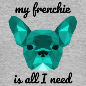 Low Poly Frenchie cyan - Männer Slim Fit T-Shirt