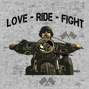 RIDE Motorsykkel - LOVE - FIGHT - Slim Fit T-skjorte for menn