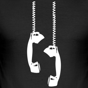 Vintage phone talk Retro Telefonhörer Anruf antik - Männer Slim Fit T-Shirt