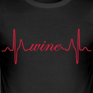 Wine heartbeat ECG - Men's Slim Fit T-Shirt