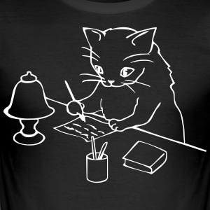 Cat writes a letter - Men's Slim Fit T-Shirt