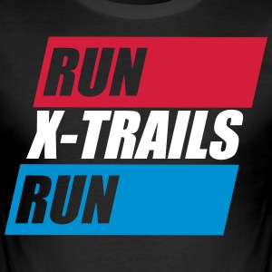 X-Spår. Kör-X-Trails-Run. Est. 2017 - Slim Fit T-shirt herr