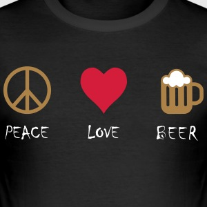 Peace Love Bier - Männer Slim Fit T-Shirt