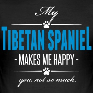 My Tibetan Spaniel makes me happy - Men's Slim Fit T-Shirt