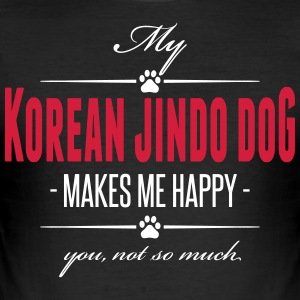 Min koreansk jindo Dog gjør meg glad - Slim Fit T-skjorte for menn