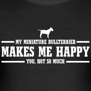 MINIATURE BULLTERRIER makes me happy - Männer Slim Fit T-Shirt
