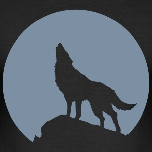 Wolf howling, full moon, moon, totem, totem - Men's Slim Fit T-Shirt