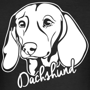 Dachshund PORTRETT - Slim Fit T-skjorte for menn