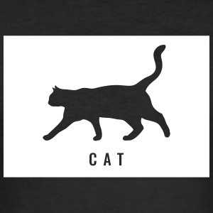 Cat - Cat lettering with cat in rectangle - Men's Slim Fit T-Shirt