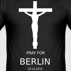 PRAY4BERLIN - Männer Slim Fit T-Shirt