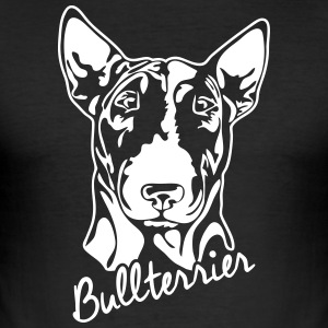 BULL TERRIER PORTRETT - Slim Fit T-skjorte for menn