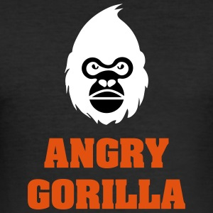 angry_gorilla_white - Männer Slim Fit T-Shirt