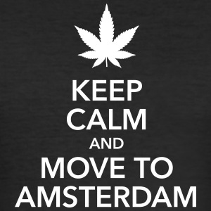 Keep calm move to Amsterdam Holland Cannabis Weed - Men's Slim Fit T-Shirt