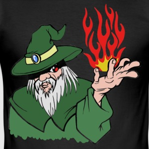 Willpower Wizard Green / Red Flame - No Text - Men's Slim Fit T-Shirt