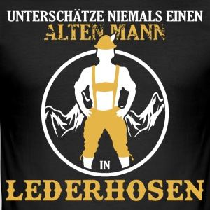 ALTER MANN IN LEDERHOSEN - Männer Slim Fit T-Shirt