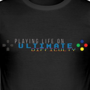 Playing Life On Ultimate Difficulty by JuiceMan - Men's Slim Fit T-Shirt