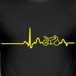 EKG HEART LINE BIKE gul - Slim Fit T-shirt herr