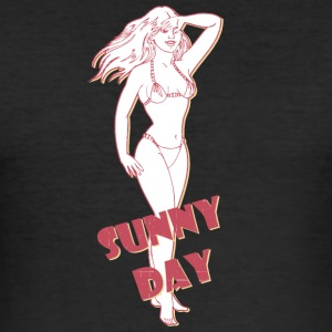 sunny day with sexy girl - Men's Slim Fit T-Shirt