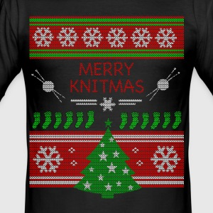 Merry Knitmas - Männer Slim Fit T-Shirt