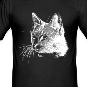 Cat white head - Men's Slim Fit T-Shirt