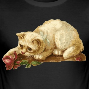 Cat with Rose - Men's Slim Fit T-Shirt