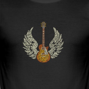 Gitar med Wings - Slim Fit T-skjorte for menn