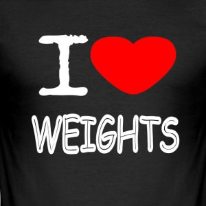 I LOVE WEIGHTS - Men's Slim Fit T-Shirt