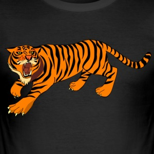 Tiger with claws and roar on - Men's Slim Fit T-Shirt