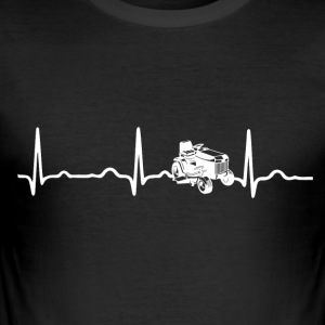 ECG HEARTBEAT MOWER TRACTOR wit - slim fit T-shirt