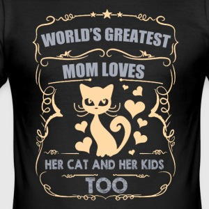 World greatest mom loves her CAT / KIDS - Men's Slim Fit T-Shirt