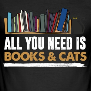 Books and cats - Men's Slim Fit T-Shirt