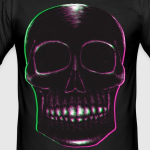Blackwork Skull med Pink & Green - Slim Fit T-skjorte for menn
